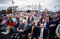 Supporters listen NJ's governor Chris Christie while he visits the Jersey shore's reconstruction, marking the second anniversary of Sandy storm in New Jersey. 10.29.2014. Eduardo MunozAlvarez/VIEWpress