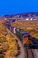 Overview of a freight train near Gallup, New Mexico USA.