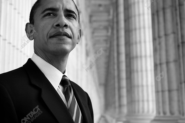 Senator Barack Obama at the Lincoln Memorial, Washington DC, USA, June 9, 2005.