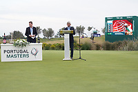 Presentation ceremony for the winner of the Portugal Masters 2019, Dom Pedro Victoria Golf Course, Vilamoura, Vilamoura, Portugal. 27/10/2019<br /> Picture Andy Crook / Golffile.ie<br /> <br /> All photo usage must carry mandatory copyright credit (© Golffile | Andy Crook)