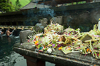 Temple offerings, holy water temple at Tampak Siring, Bali