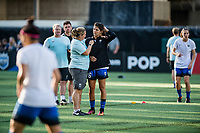 Seattle, WA - Wednesday, June 28, 2017: Seattle Reign FC head coach Laura Harvey during a regular season National Women's Soccer League (NWSL) match between the Seattle Reign FC and the Chicago Red Stars at Memorial Stadium.