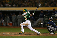 OAKLAND, CA - OCTOBER 02:  Matt Chapman #26 of the Oakland Athletics bats against the Tampa Bay Rays during the American League Wild Card Game at RingCentral Coliseum on Wednesday, October 2, 2019 in Oakland, California. (Photo by Brad Mangin)