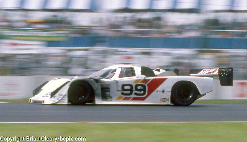 The #99 Eagle HF89 Toyota of Rocky Moran and Willy T. Ribbs races through a turn during the IMSA GTP/Lights race at the Florida State Fairgrounds on the way to a 20th place finish  in Tampa, FL, October 1, 1989.  (Photo by Brian Cleary/www.bcpix.com)