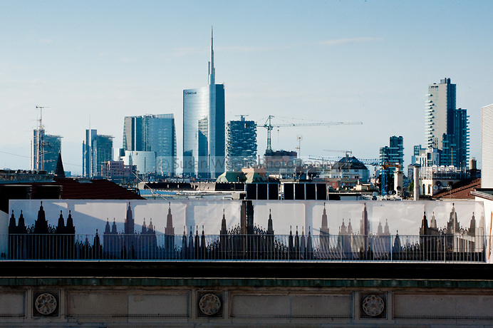 View of the Milan skyline from Il Duomo, Milan, Italy