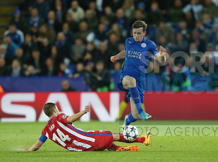 Leicester's Ben Chilwell tussles with Atletico's Gabi during the Champions League Quarter-Final 2nd leg match at the King Power Stadium, Leicester. Picture date: April 18th, 2017. Pic credit should read: David Klein/Sportimage