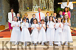 Pictured on Saturday is the children from Brosna and Knocknaclarig receiving their First Holy Communion in Brosna. They are pictured with Ann Nash, class teacher of Knocknaclarig pupils, Fr. Anthiny O'Sullivan and Noreen Murphy, class teacher of Brosna pupils.