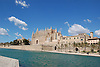 Almudaina Palace and Cathedral Santa María de Palma de Mallorca (1229-1346) with the Episcopal Palace and lagoon Parc de la Mar<br />