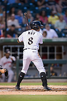 Jacob May (8) of the Charlotte Knights at bat against the Indianapolis Indians at BB&T BallPark on June 16, 2017 in Charlotte, North Carolina.  The Knights defeated the Indians 12-4.  (Brian Westerholt/Four Seam Images)