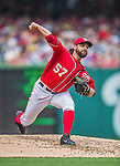 22 June 2014: Washington Nationals starting pitcher Tanner Roark on the mound against the Atlanta Braves at Nationals Park in Washington, DC. The Nationals defeated the Braves 4-1 to split their 4-game series and take sole possession of first place in the NL East. Mandatory Credit: Ed Wolfstein Photo *** RAW (NEF) Image File Available ***