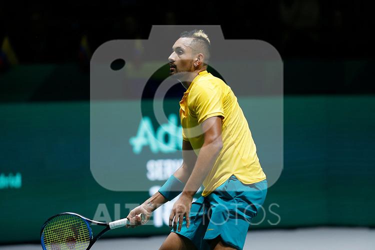 Nick Kyrgios of Australia reacts against Nick Kyrgios of Australia during Day 2 of the 2019 Davis Cup at La Caja Magica on November 19, 2019 in Madrid, Spain. (ALTERPHOTOS/Manu R.B.)