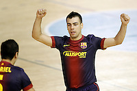FC Barcelona Alusport's Sergio Lozano celebrates goal during Spanish National Futsal League match.November 24,2012. (ALTERPHOTOS/Acero) /NortePhoto