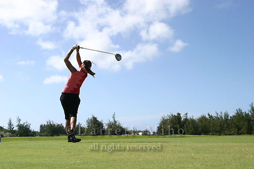 February 16, 2006 - Kahuku, HI - Jennifer Rosales tees off during Round 1 of the LPGA SBS Open at Turtle Bay Resort.  Rosales is the defending champion...Photo: Darrell Miho