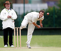 Martin Tucker bowls for Hornsey during the Middlesex County League Division two game between Shepherds Bush and Hornsey at Bromyard Avenue, East Acton on Sat July 23, 2011