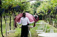 Staff of the two Michelin stars Ristorante Arquade near Verona preparing the vineyard for an al fresco meal