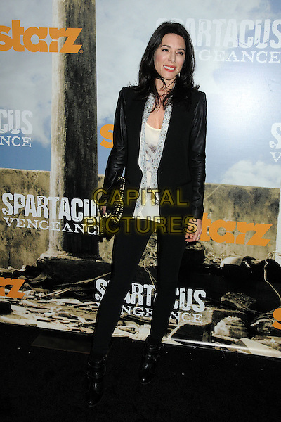 "Jaime Murray.""Spartacus: Vengeance"" Premiere Screening held at Arclight Cinemas, Hollywood, California, USA..January 18th, 2012.full length jacket blazer leggings leather top white blue black .CAP/ADM/BP.©Byron Purvis/AdMedia/Capital Pictures."