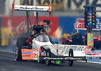 Feb 20, 2015; Chandler, AZ, USA; NHRA top fuel driver Clay Millcan during qualifying for the Carquest Nationals at Wild Horse Pass Motorsports Park. Mandatory Credit: Mark J. Rebilas-