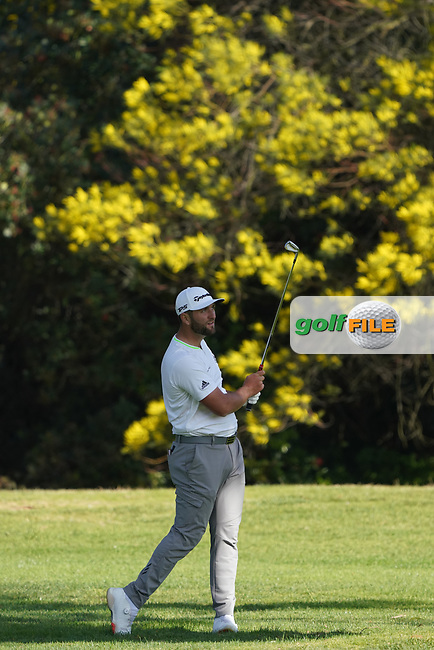 Jon Rahm (ESP) in action during the first round of The Genesis Invitational, Riviera Country Club, Pacific Palisades, Los Angeles, USA. 12/02/2020<br /> Picture: Golffile | Phil Inglis<br /> <br /> <br /> All photo usage must carry mandatory copyright credit (© Golffile | Phil Inglis)