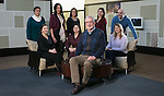 Back row, left to right, Anita Rosso, Shannon Williams, Amanda Parada-Villatoro, Christina Tus, Luciano Berardi, front row, left to right, Juline Girts, Gina Nuñez, Brian Spittle, Kate Agarwal. Brian Spittle, the assistant vice president for the Center of Access and Attainment, front row, center, has worked in Enrollment Management and Marketing for the last 29 years and is retiring at the end of December, 2016. He played an enormous role in bringing TRIO programs to DePaul and worked heavily on DePaul's partnerships with CPS. (DePaul University/Jeff Carrion)