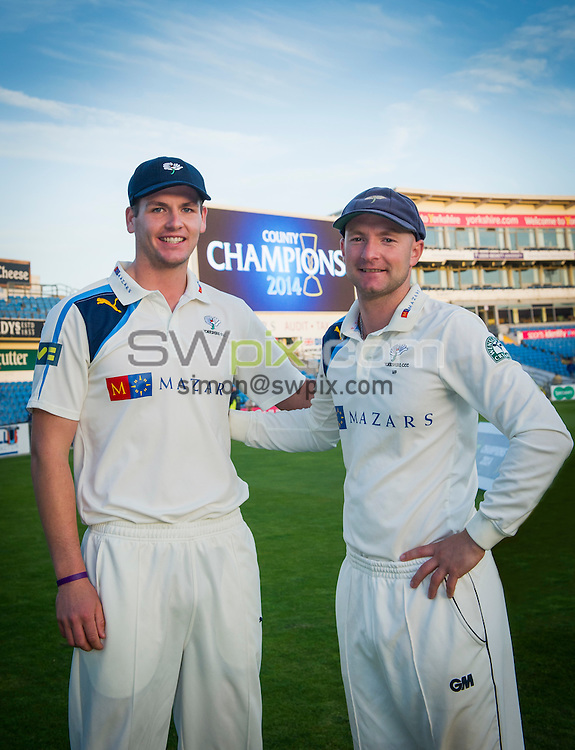 Picture by Allan McKenzie/SWpix.com - 26/09/2014 - Cricket - LV County Championship Div One - Yorkshire County Cricket Club v Somerset County Cricket Club - Headingley Cricket Ground, Leeds, England - Alex Lees & Adam Lyth.