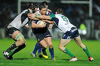 01/01/2016;Guinness PRO12 Round 11 - Leinster v Conacht, RDS, Dublin.<br /> Leinster's Eoin Reddan is tackled by John Muldoon and Kieran Marmion of Connacht.<br /> Photo Credit: actionshots.ie/Tommy Grealy