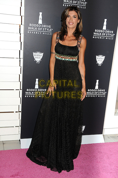 Elisabetta Canalis.Rodeo Drive Walk Of Style Honoring Iman And Missoni Held On Rodeo Drive, Beverly Hills, California, USA..October 23rd, 2011.full length black dress maxi embroidered straps see through thru knickers underwear .CAP/ADM/BP.©Byron Purvis/AdMedia/Capital Pictures.