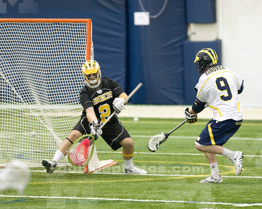 University of Michigan lacrosse (men) 29-5 victory over Western Michigan University at Oosterbaan Fieldhouse on April 2, 2010.