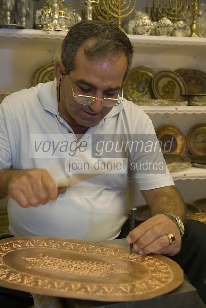 Asie/Israël/Galilée/Saint-Jean-d'Acre: artisanat du cuivre et de l'argent chez Gabriel Mesika