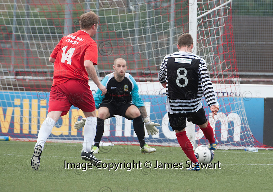 Shire's David Greenhill scores their sixth goal.