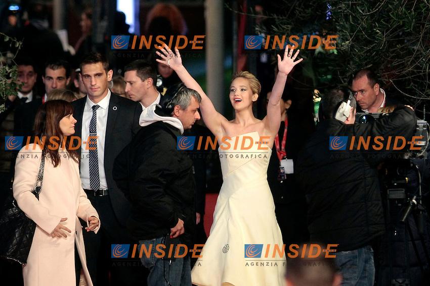Jennifer Lawrence<br /> Roma 10-11-2013 Auditorium <br /> Festival Internazionale del Film di Roma<br /> Rome Film Festival <br /> 'The Hunger Games: Catching Fire / Hunger Games - La ragazza di fuoco' Red Carpet<br /> Foto Samantha Zucchi / Insidefoto