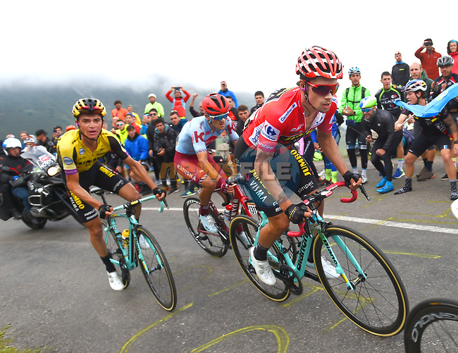 Race leader Primoz Roglic (SLO) and Sepp Kuss (USA) Team Jumbo-Visma on the final climb of Stage 16 of La Vuelta 2019  running 144.4km from Pravia to Alto de La Cubilla. Lena, Spain. 9th September 2019.<br /> Picture: Karlis | Cyclefile<br /> <br /> All photos usage must carry mandatory copyright credit (© Cyclefile | Karlis)