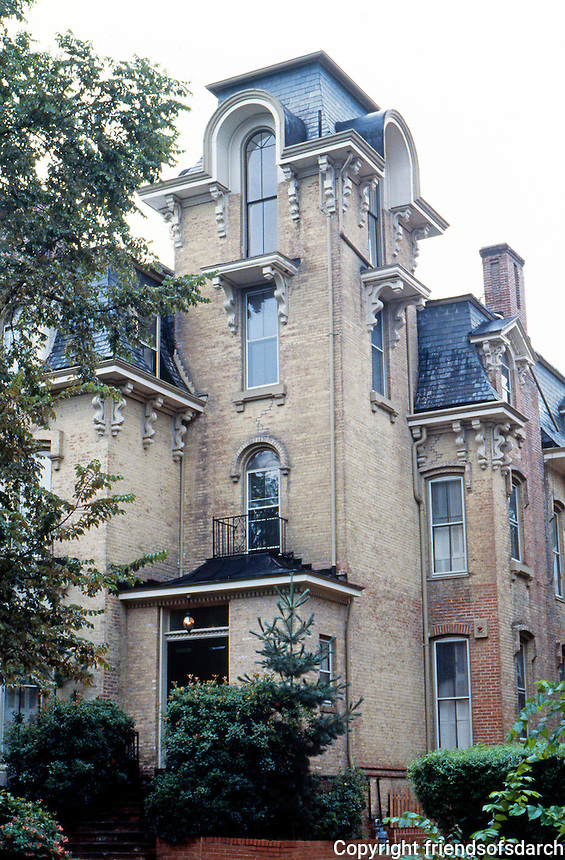 D.C.: Georgetown--2nd Empire House, 1868. Part of Cooke's Row, Que St. Built as luxury rental.  Photo '85.