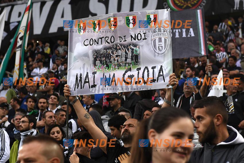 striscione tifosi Juventus<br /> Torino 14-05-2016 Stadio Olimpico Football Calcio Serie A 2015/2016 Juventus-Sampdoria. Foto Matteo Gribaudi / Image Sport / Insidefoto