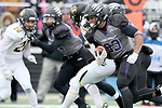 SIOUX FALLS, SD - NOVEMBER 10: Gabriel Watson #33 from the University of South Falls scores a touchdown against Wayne State during their game Saturday afternoon at Bob Young Field in Sioux Falls. (Photo by Dave Eggen/Inertia)