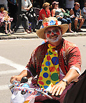 "A ""Clown"" riding in the Saugerties July 4th Parade on Main Street in Saugerties, NY on Monday, July 4, 2011. Photo by Jim Peppler. Copyright © Jim Peppler 2011."