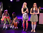 Leah Lane, Hui-Shan Yong, Claire Autran, Azalea Lewis, Maggie Metnick during The Dare Tactic production of 'A Roller Rink Temptation' at  WOW Cafe on May 25, 2018 in New York City.