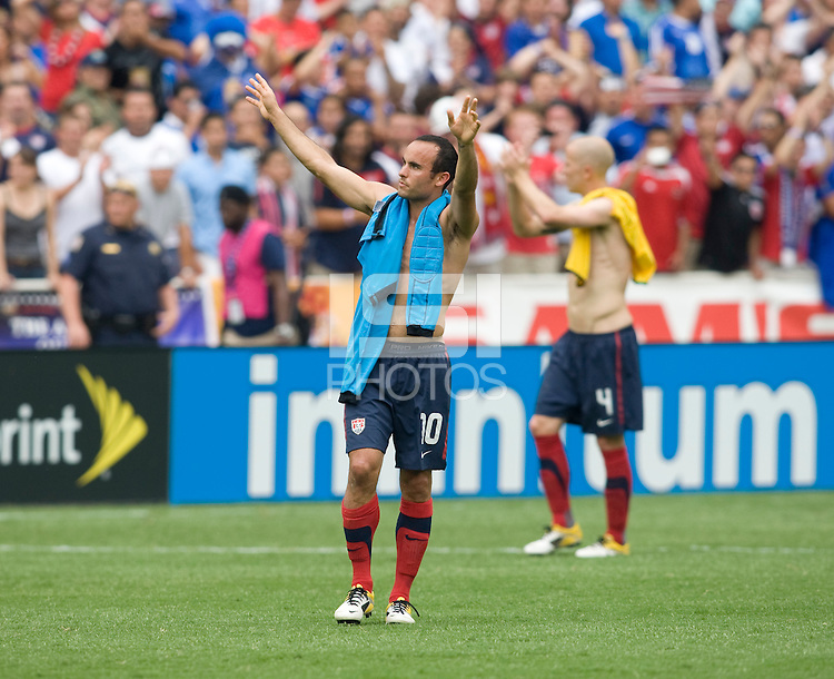 Landon Donovan (10) of the USMNT salutes the crowd after the game at RFK Stadium in Washington, DC.  The USMNT defeated Jamaica, 2-0.