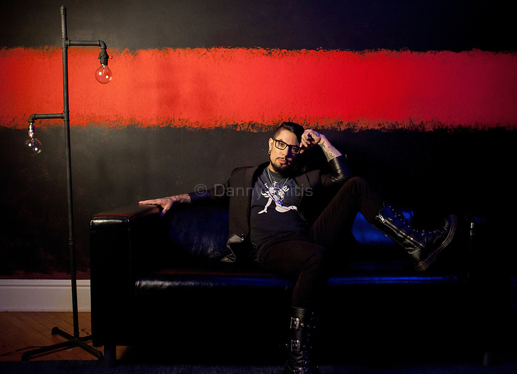 """Dave Navarro, guitarist and founding member of the band Jane's Addiction, produced the documentary """"Mourning Son"""" about the murder of his mother. He poses for a portrait in his Rothko-inspired dressing room at the Newark studio for Ink Master, the television show he hosts. <br /> <br /> <br /> Danny Ghitis for The New York Times"""