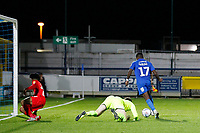 Michael Folivi of AFC Wimbledon with the goal at his mercy during the The Leasing.com Trophy match between AFC Wimbledon and Leyton Orient at the Cherry Red Records Stadium, Kingston, England on 8 October 2019. Photo by Carlton Myrie / PRiME Media Images.