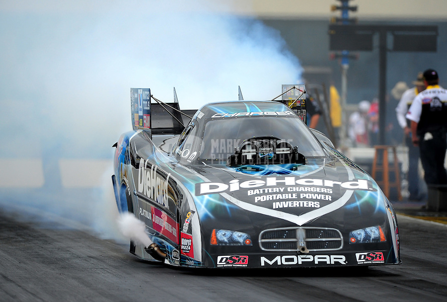 Sept. 18, 2011; Concord, NC, USA: NHRA funny car driver Matt Hagan during the O'Reilly Auto Parts Nationals at zMax Dragway. Mandatory Credit: Mark J. Rebilas-