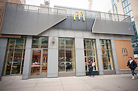 A prototype McDonald's in New York, upscaling with minimalist decor and a McCafe, on Wednesday, February 1, 2017.  (© Richard B. Levine)