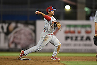 Clearwater Threshers second baseman Drew Stankiewicz (15) turns a double play during a game against the Dunedin Blue Jays on April 10, 2015 at Florida Auto Exchange Stadium in Dunedin, Florida.  Clearwater defeated Dunedin 2-0.  (Mike Janes/Four Seam Images)