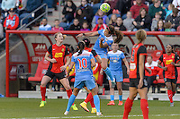 Bridgeview, IL, USA - Saturday, April 23, 2016: Chicago Red Stars midfielder Danielle Colaprico (24) goes up for a header during a regular season National Women's Soccer League match between the Chicago Red Stars and the Western New York Flash at Toyota Park. Chicago won 1-0.