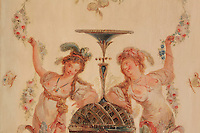 "Detail of a painted decorative wall panel depicting courtesans women, feathers in the hair, naked breasts, holding garlands of flowers, Turkish Boudoir, redesigned in 1777 for Marie Antoinette, by architect Richard Mique, Chateau de Fontainebleau, France. The decoration is the achievement of the brothers Rousseau, and the furniture dates to the period of the First Empire, with precious textile work done by Jacob-Desmalter for Empress Josephine. Including a small bedroom, mirrors, and curtains raised by pulleys, this exceptional ensemble has been restored in 2014 thanks to the support of INSEAD and the generosity of subscribers of sponsors belonging to the group ""Des Mécènes pour Fontainebleau"". Its opening to the public is schedule for Spring 2015. Picture by Manuel Cohen"