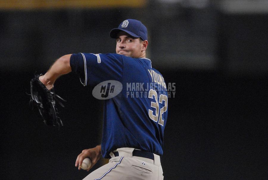 Sept 4, 2007; Phoenix, AZ, USA; San Diego Padres pitcher (32) Chris Young pitches against the Arizona Diamondbacks at Chase Field. Mandatory Credit: Mark J. Rebilas-US PRESSWIRE