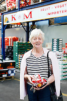 26/8/2011. Dublin Fruit and Vegetable Market.  Eilish Carbury pictured at the Dublin Fruit and Vegetable Market. for over 40 years. Picture James Horan/Collins Photos