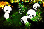 Chinese Lantern Festival in Toronto. Pandas on grass magnificent illumination glowing at night. Ontario Place, Toronto, Canada 2008.