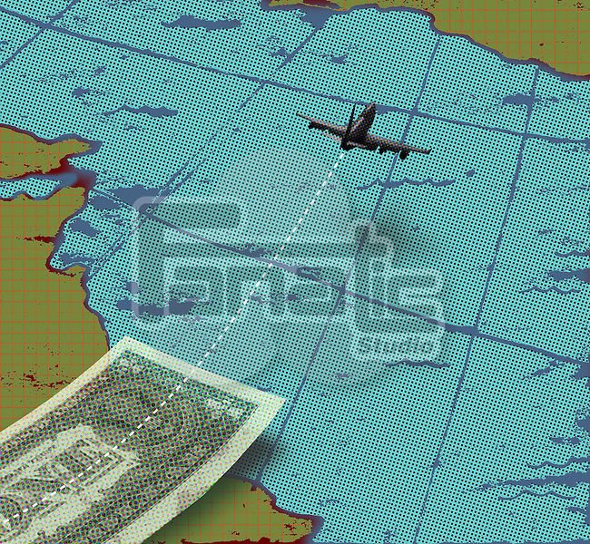 Airplane with paper currency and world map representing business travel