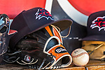 31 May 2018: A New Hampshire Fisher Cats Cap and Glove lies in the dugout during a game against the Portland Sea Dogs at Northeast Delta Dental Stadium in Manchester, NH. The Sea Dogs defeated the Fisher Cats 12-9 in extra innings. Mandatory Credit: Ed Wolfstein Photo *** RAW (NEF) Image File Available ***