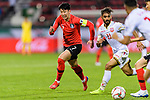 Son Heungmin of South Korea (C) fights for the ball with Ali Jaafar Madan of Bahrain (R) during the AFC Asian Cup UAE 2019 Round of 16 match between South Korea (KOR) and Bahrain (BHR) at Rashid Stadium on 22 January 2019 in Dubai, United Arab Emirates. Photo by Marcio Rodrigo Machado / Power Sport Images